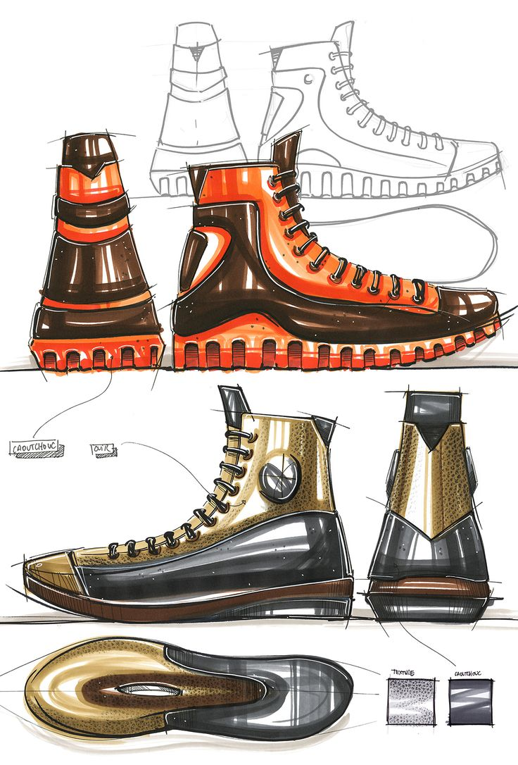 The second set of illustrations utilizes a color scheme that is somewhat reminiscent of steam punk. This shoe sort of has an industrial presentation and appears to be very sturdy. At the same time, it has somewhat of a graceful elegance to it because of how the lines gently slope down the profile of the shoe.