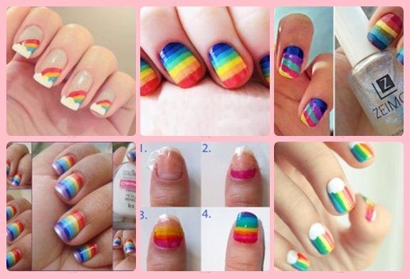 Aqui poderás conferir fotos fantásticas de modelos variados de unhas decoradas com arco-íris.