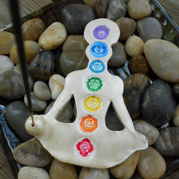 Chakra Incense Holder, Yoga Decor, Bohemian Decor, Polymer Clay
