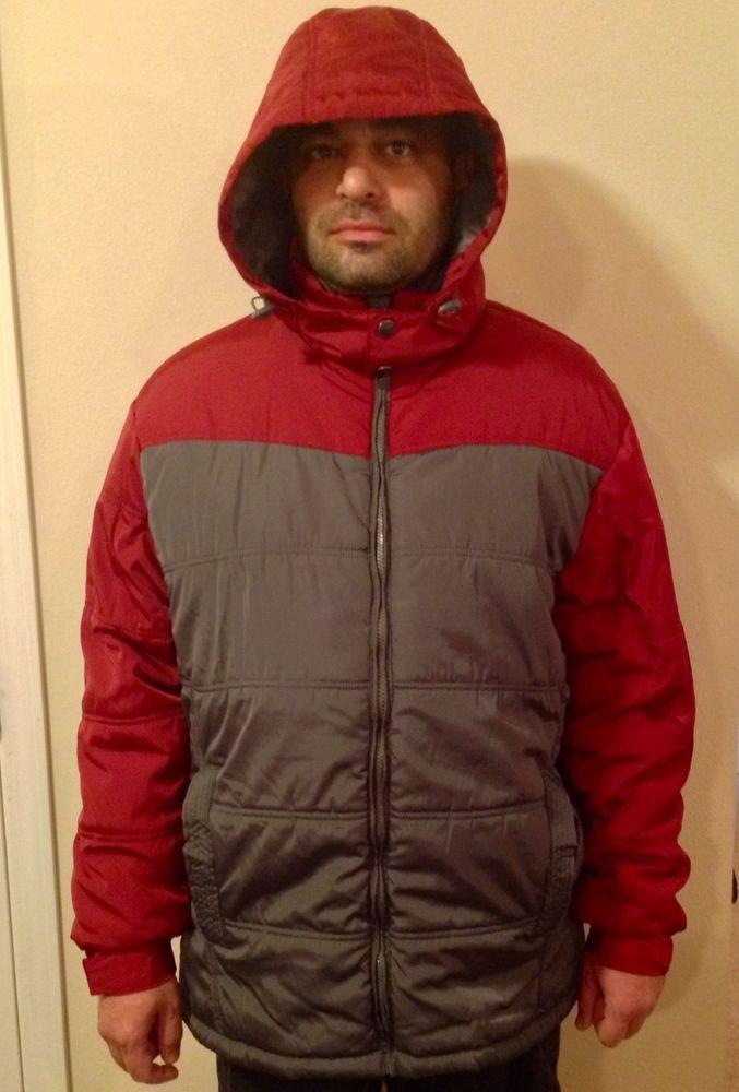 NordicTrack Men's Puffer Coat Jacket Large Red Gray | eBay