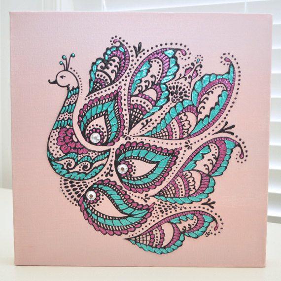 Pink Peacock - 12x12 Canvas- Henna Mehndi Inspired - Original OOAK -  Home Decor - Gift - Valentines Day - Swarovski. $150.00, via Etsy.