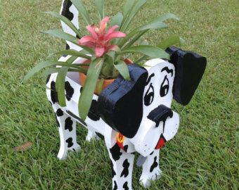 Wooden Planters - Dalmatian With Dog Tag Also have Pig, Frog, Swan and Cow available Well built - Nailed and Glued Planter sprayed with Lacquer for more protection