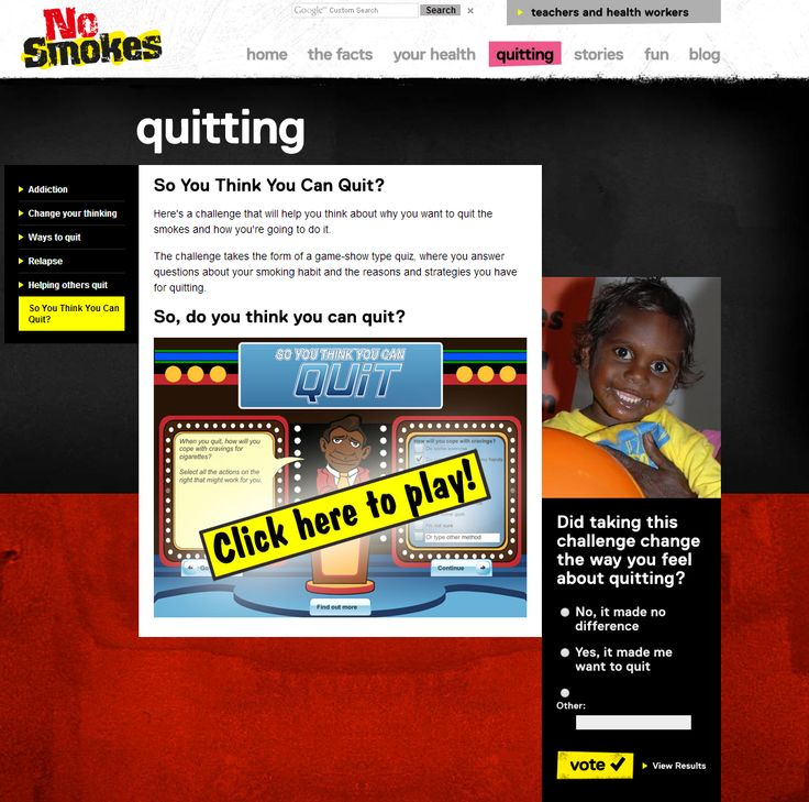 So you think you can quit? - Here's a challenge that will help you think about why you want to quit the smokes and how you're going to do it.  The challenge takes the form of a game-show type quiz, where you answer questions about your smoking habit and the reasons and strategies you have for quitting.