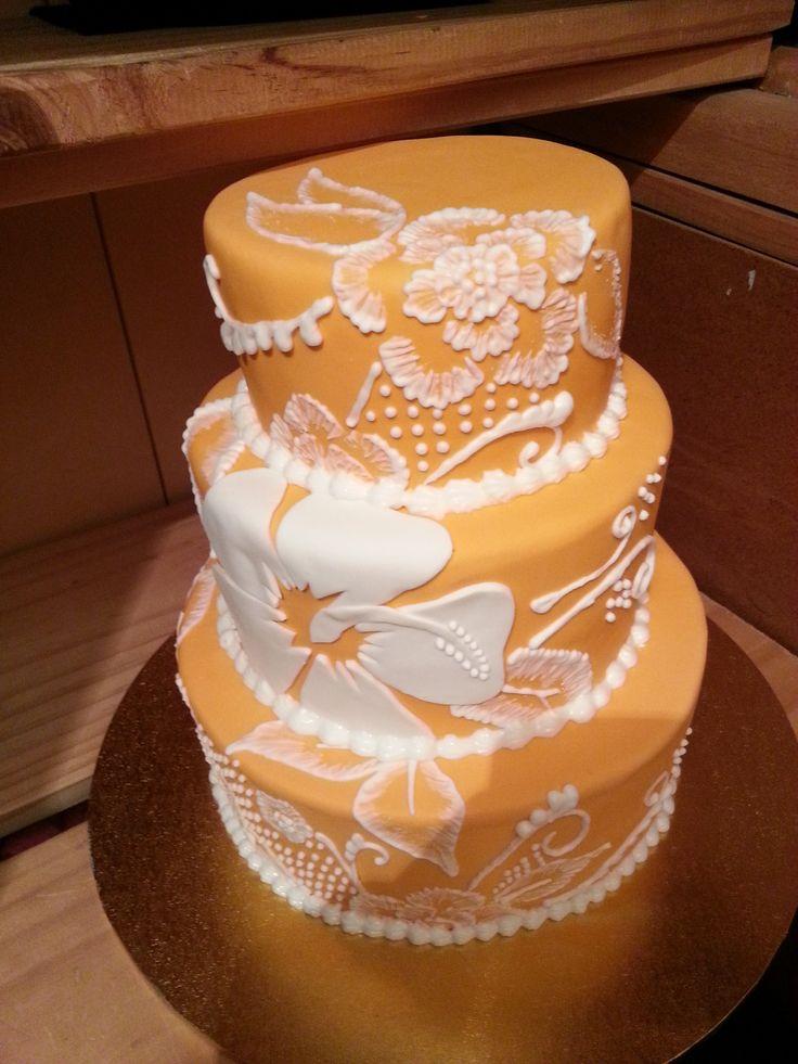 Orange and white hibiscus embroidery cake for my nanas birthday