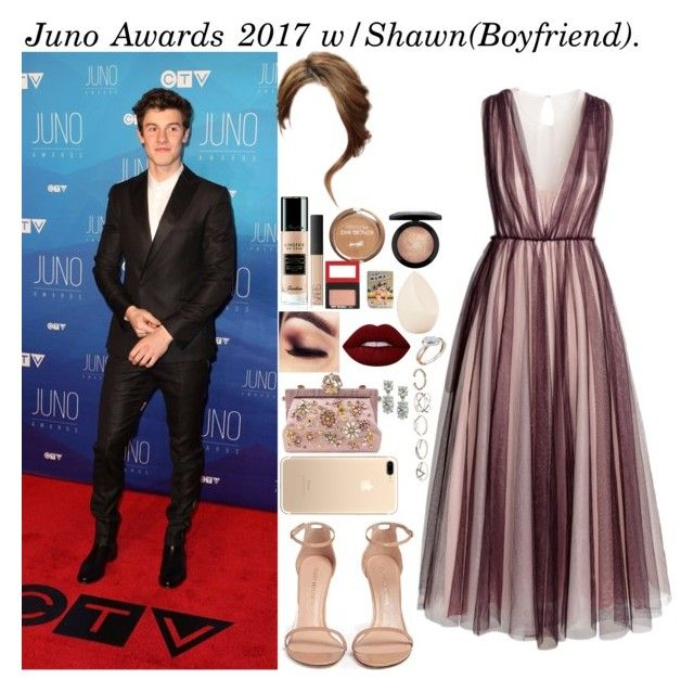 """Juno Awards 2017 w/Shawn(Boyfriend)."" by tatabranquinha ❤ liked on Polyvore featuring H&M, Stuart Weitzman, Christian Dior, Guerlain, NARS Cosmetics, TheBalm, MAC Cosmetics, Lime Crime, Dolce&Gabbana and GUESS"