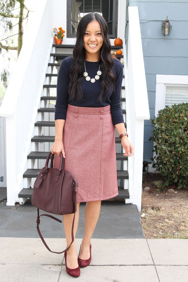 ... Work Outfits Ideas for Women ~. Navy Sweater + Statement Necklace +  Maroon Skirt + Heels 9aa93daf440
