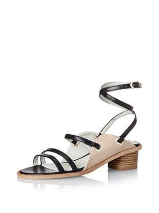 50% OFF Plomo Women's Antoinette Multi Strap Mid Heel (Black/Beige Strap)