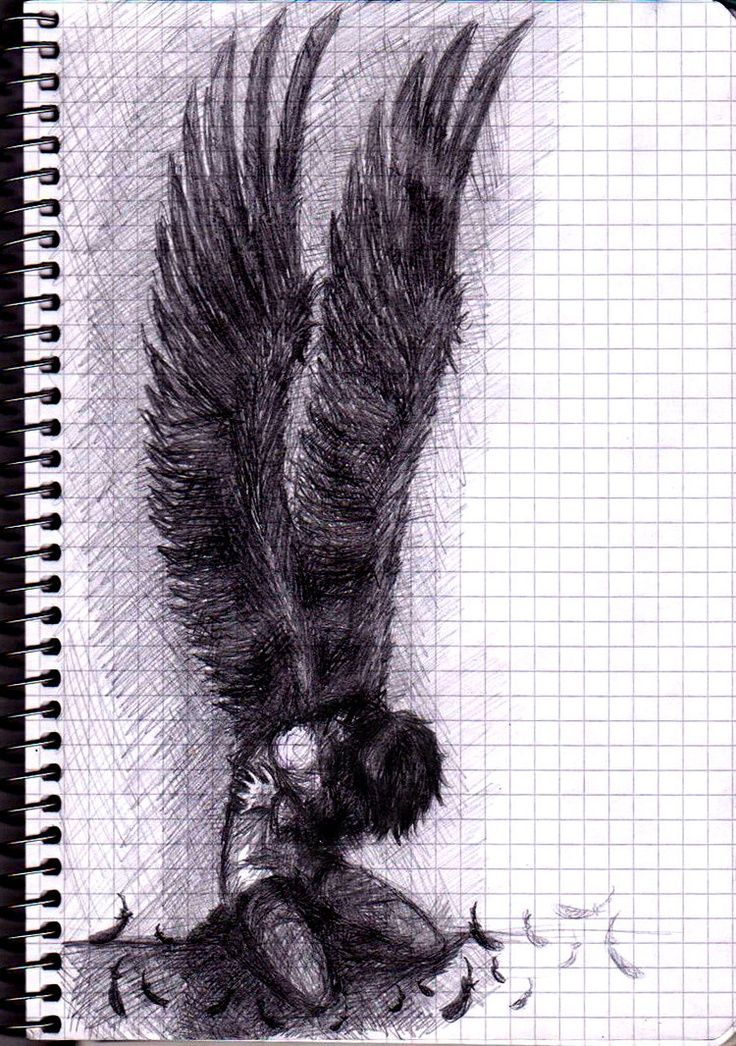 angels drawing drawings angel dark wings sad sketch depressed guy pencil sketches cool fallen why draw anime think van freischutz