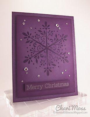 handmade Christmas ... monochromatic purple purple ... huge lacy snowfloake .... some bling ... luxurious ...