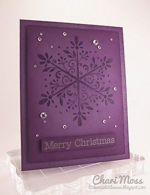 handmade Christmas ... monochromatic purple purple ... huge lacy snowfloake .... some bling ... luxurious ...