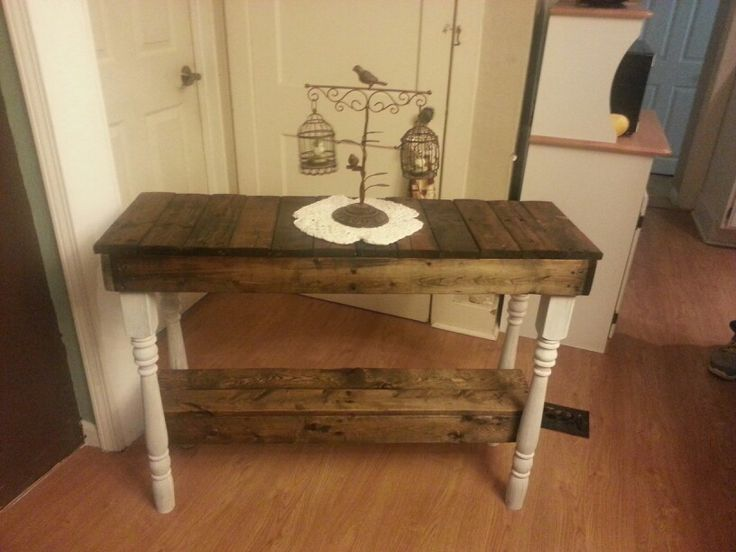 Entry way table i made from repurposed spindles and pallet for Wood balusters for tables