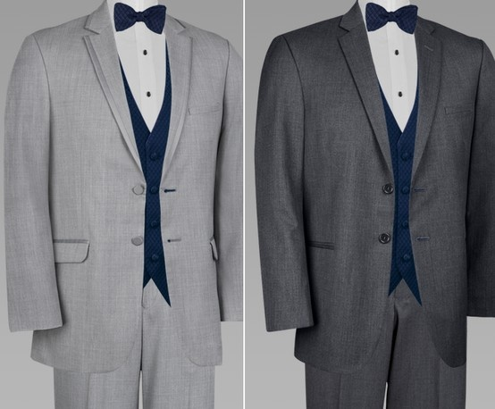 """""""Light grey tux for groom and his men. Dark grey tux for the fathers ."""" or vice versa. Navy vest and maybe peach bow tie?"""