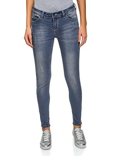 nice oodji Ultra Damen Jeans Slim Fit, Blau, 29W / 32L (DE 40 / EU 42 / L)