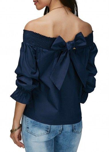 Off the Shoulder Navy Blue Bowknot Embellished Blouse