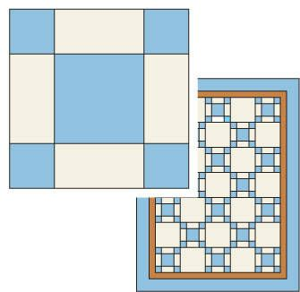 View of Single Irish Chain quilt pattern, shows baby quilt with solid pattern blocks.