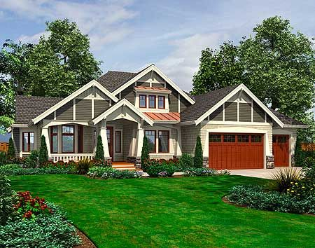 Plan 23382jd rambler with 3 car garage home design for Craftsman rambler house plans