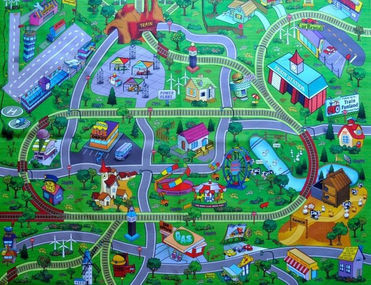 Outdoor Area Rugs Large My Town Play Mat with Airport Town Train Tracks and Roads