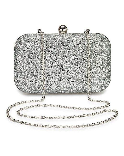 Alice Silver Glitter Clutch Bag | Simply Be