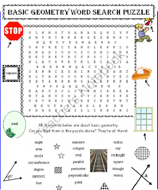Elementary Geometry Word Search Puzzle (Basic) from DayWorks on TeachersNotebook.com -  (1 page)  - ELEMENTARY GEOMETRY WORD SEARCH PUZZLE. 20 basic geometric terms your students will eventually have to know. Give them a head start. Kids LOVE these word search puzzles and know how to use them. You do too! Great for math centers, before school work, etc.