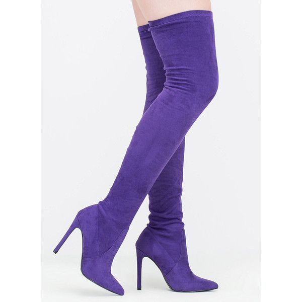 PURPLE Strong Point Faux Suede Thigh-High Boots ($48) ❤ liked on Polyvore featuring shoes, boots, over-the-knee boots, purple, over-knee boots, thigh high heel boots, pointy toe stilettos, pointy-toe boots and thigh high stiletto boots