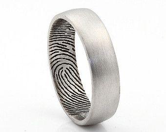 Cool Set Sterling Silver Custom Fingerprint Wedding rings or Commitment Bands with Beveled Outside Edge