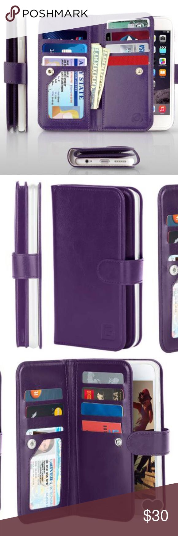Gear Beast Dual Folio Wallet Case - iPhone 6s Plus Gear Beast Dual Folio Wallet Case fits iPhone 6s Plus. Purple as pictured. Awesome portable way to carry your id, phone, cash and cards with you. Wristlet strap included and is removable. I ordered the wrong size on my first order and LOVE mine! Super convenient way to keep important items together when on the go!  NEW with tags, never used. iPhone, cash and cards not included. Enjoy this fun deal! Gear Beast Accessories Phone Cases