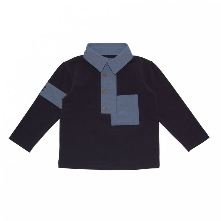 Boy's Navy Patchwork Polo   Jessie and James   Sprogs Inc