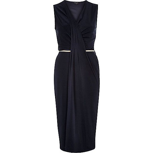 Navy belted midi dress - bodycon dresses - dresses - women