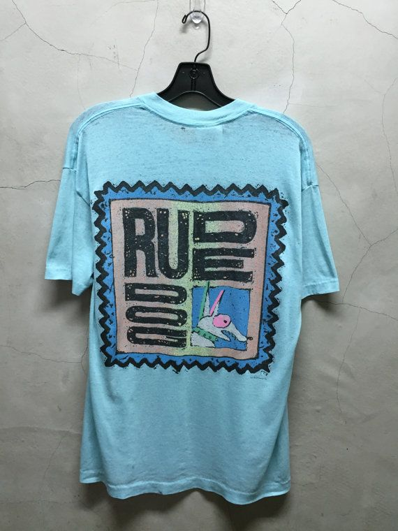distressed t shirt 80s Surf Gear Rude Dog soft by imtryingtofocus