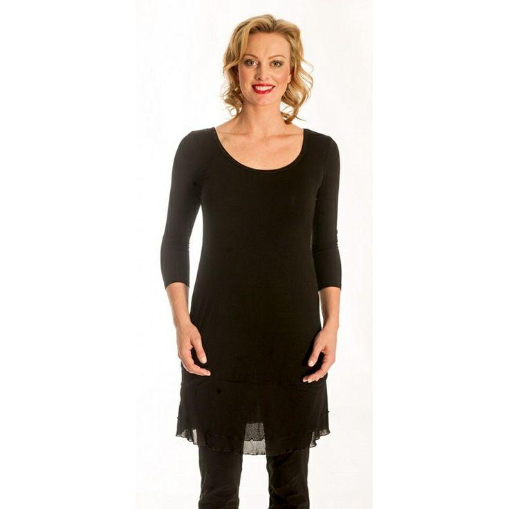 Black 3/4 Sleeve Mesh Slip ~ Best selection of Tunics & matching accessories ~ Flat postage worldwide ~ Petite to Plus sizes ~ www.ilovetunics.com