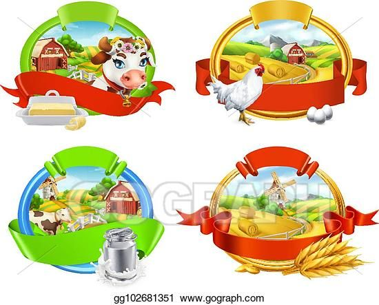 EPS Иллюстрация - Ферма. набор меток. корова и молоко ...