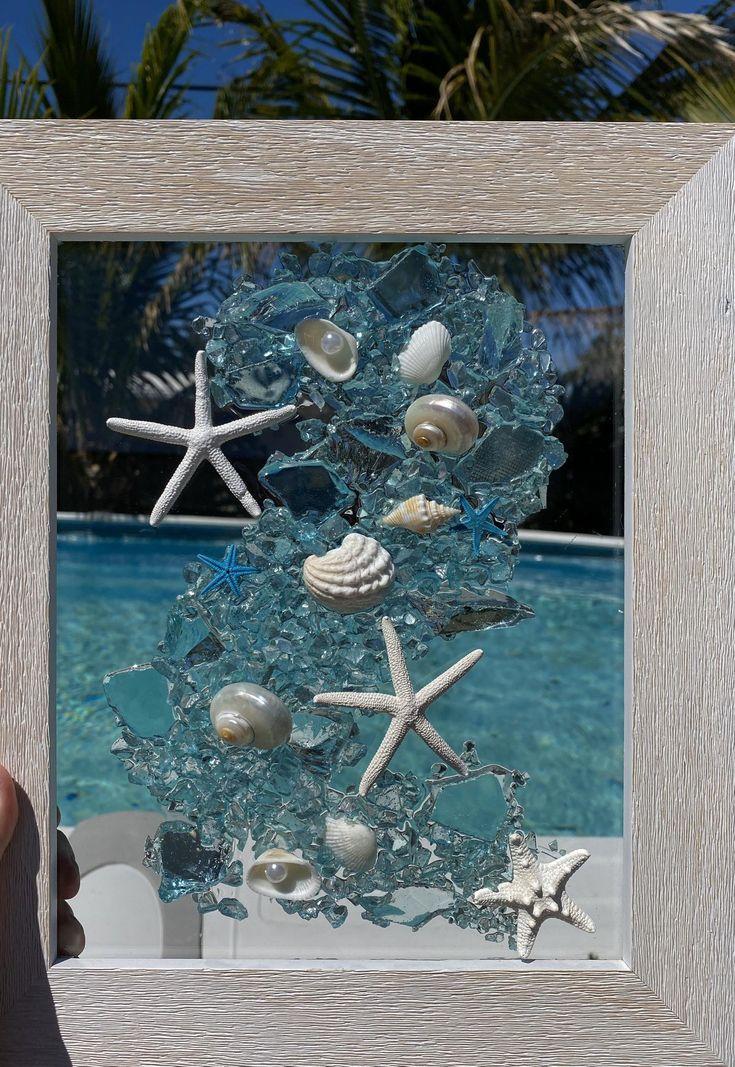 Beach glasssea glass mosaic beach window resin art