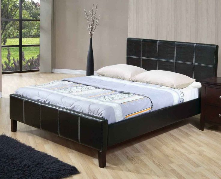 Awesome Cheap Queen Size Beds Part - 6: Bedroom,Stunning Cheap Bed Design Ideas With IKEA Black Leather Bed Frame  And Trendy White Mattress Also Soft Two Pillow,Collection Of Fun And Cheap  Bed