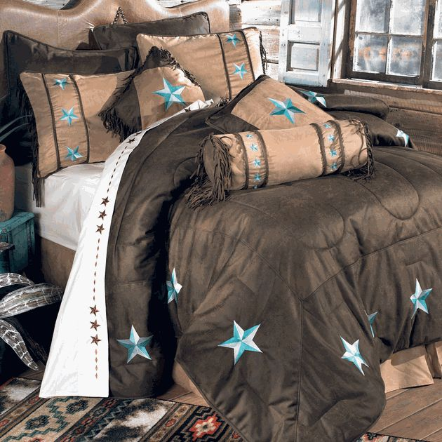 Turquoise Laredo Bed Set - Queen Lone Start Western Decor . com $330.