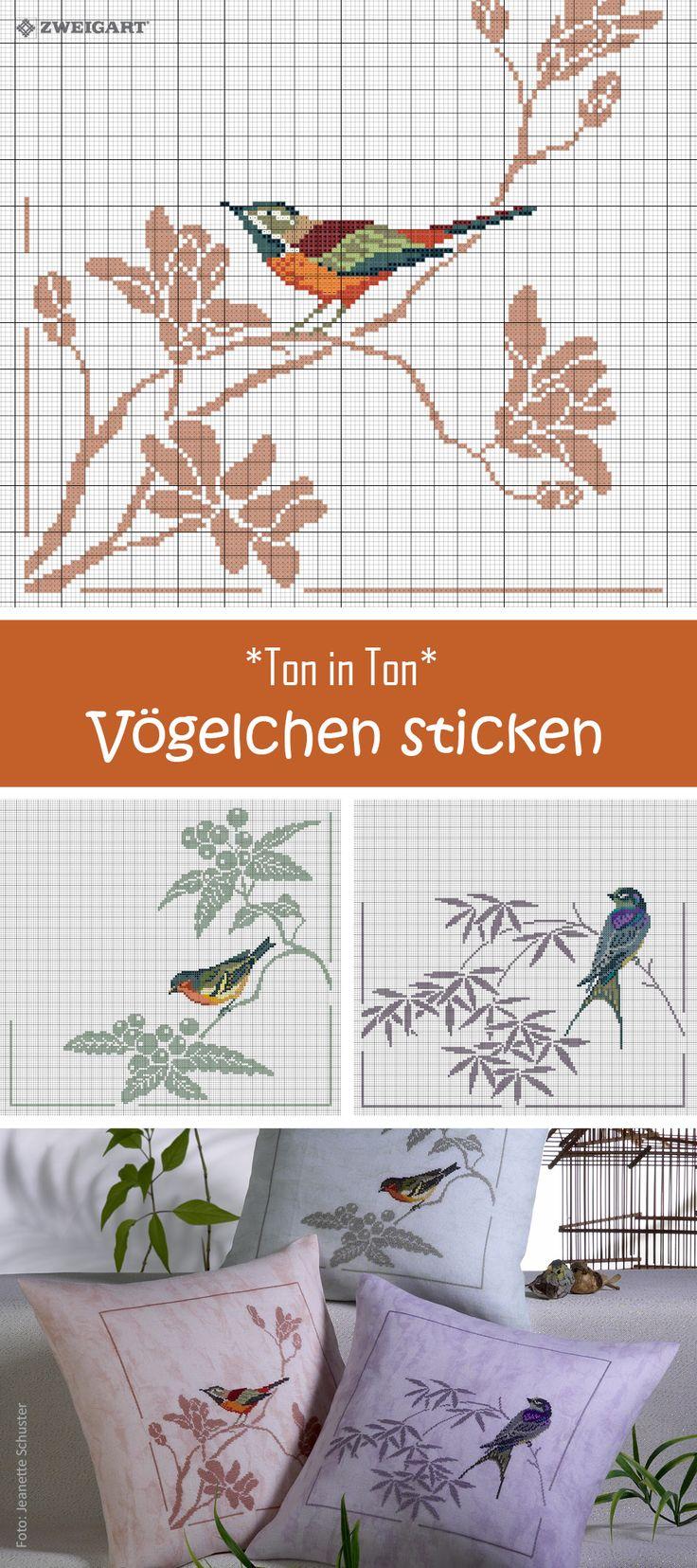 Kissen mit Ton in Ton Vögelchen in Orange, Grün oder Lila sticken #Sticken #Kreuzstich / #Vögel; #Embroidery #Crossstitch / #birds/ #ZWEIGART