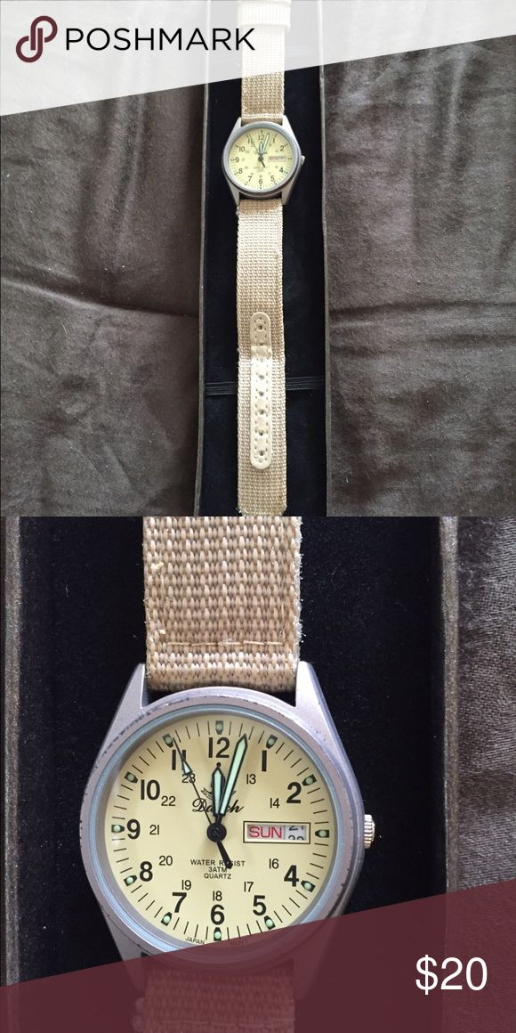 Unisex watch Beige strap antique watch that also gives military time. Great for nurses. Accessories Watches