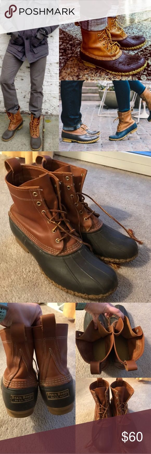 L.L. Bean boots duck boot men's tlc See last photo for more info. No size but measure up to a 12. Needs new laces. Have a faint hint of smoke- selling these for a friend. Been in my garage to air out for a few months. 🚫NO TRADES L.L. Bean Shoes Boots