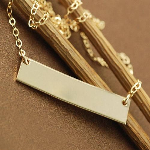 Personalize Necklace Gold Rectangular Bar Jewelry