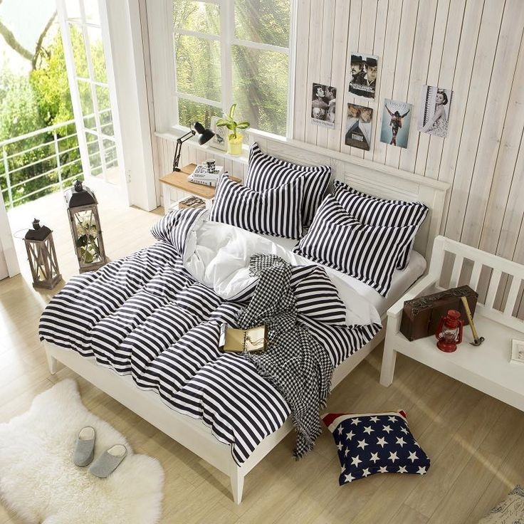Black White Striped Zebra King Queen Full Size Bedding Set