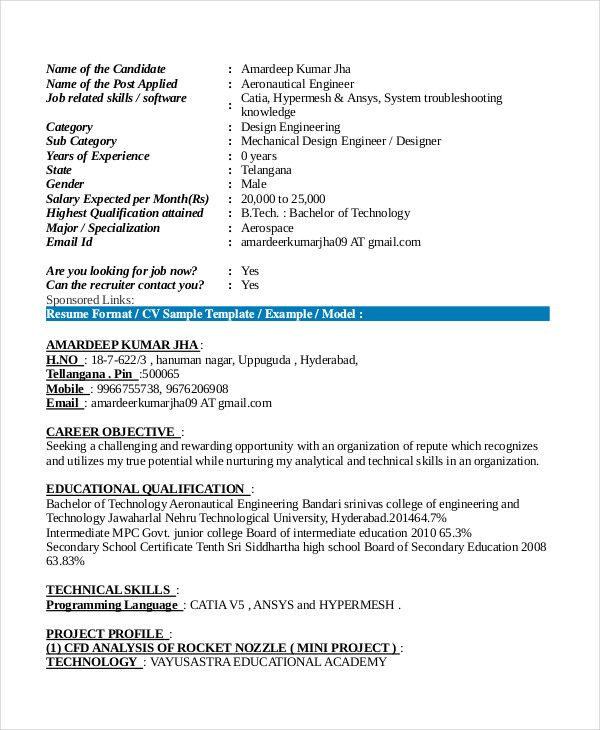 Aeronautical Fresher Resume Format In 2020 Engineering Resume Templates Job Resume Template Resume Format