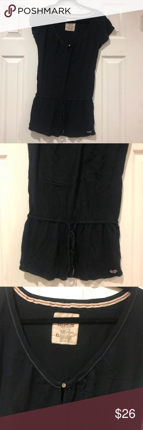 Hollister Navy Mini Dress Sz XS Good condition. Super cute dress. It is Mini. I wore it as a cover up for a bikini a couple of times. Hollister Dresses Mini
