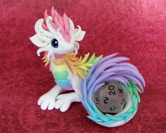 Pastel Rainbow Dice Dragon by DragonsAndBeasties.deviantart.com on @deviantART