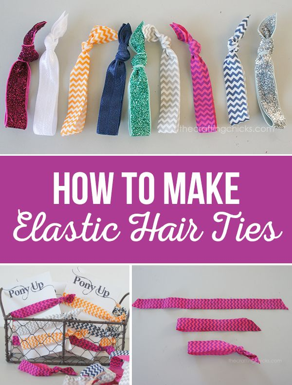 "How To Make Elastic Hairties - Tutorial - How to make elastic hair ties plus a free printable ""Pony Up"" card.These hair ties make a great gift and are a perfect craft night activity for young girls."