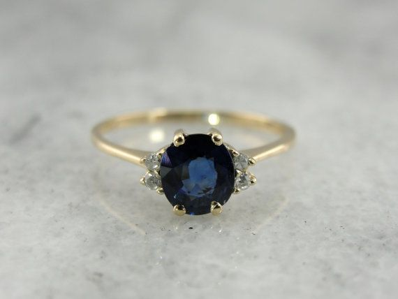 Sweet and Classic Vintage Sapphire and Diamond Ring in Yellow Gold I like this setting for Ma's sapphire.