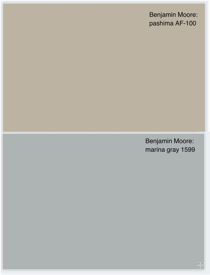 Benjamin Moore pashmina, AF-100 for walls and marina gray 1599 for fireplace brick.