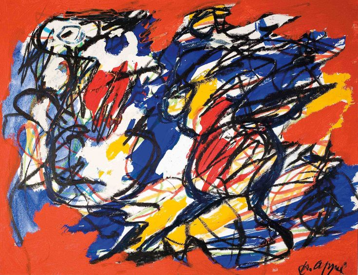 Karel appel / Karel appel (1921-2006) abstract composition, 1961 mixed media on paper 49 x 64 cm (19 x 25 in.)