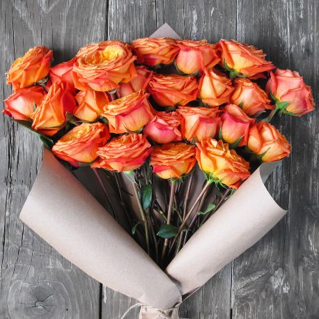 Our Orange premium Roses are a magical sight when fully bloomed. Grown on a Volcano and cut-to-order, this flower bunch will blow them away like a breathtaking sunrise.  Our flowers are shipped straight from our eco-friendly, sustainable farms on the Volcano to your recipient's door, with Free Delivery!
