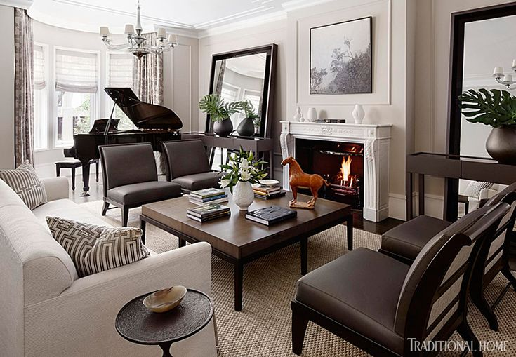A floating arrangement of matching leather chairs and a long sofa in the living room allows for - Piano for small space decoration ...