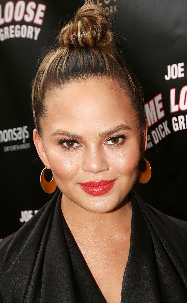 Topknot from Chrissy Teigen's Best Hair Looks | E! Online