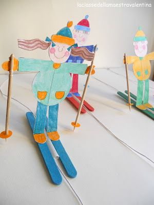 CRAFT. Popsicle stick skiers.  (Made 08.03.14 with pipe cleaner men instead of paper.)